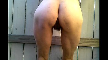Hairy sexy MILF wife posing outdoors