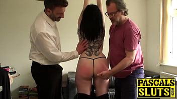 Inked sub Sexy Cleo reaches big cock orgasm and fed cum