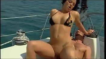 Nice brunette in bathing suit fucked in a yacht