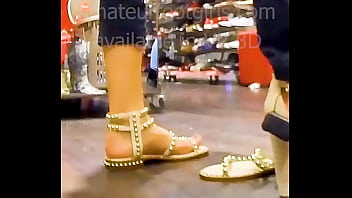 My girlfriend tries out sandals with her sweaty feet , sandales shoes, Shoeplay, Barefoot