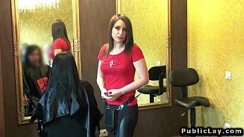 Amateur hairdresser fucks for cash POV