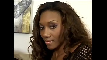 Black bombeshell Nyomi Banxxx likes to slide up and down along big shaft of her bovine-looking muscle man