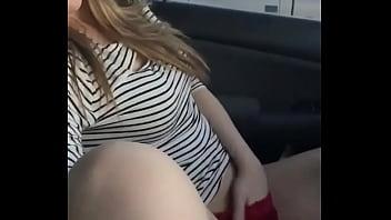Hot blonde girl next door fingers herself in her car