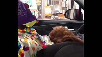 Clown gets dick sucked while ordering food