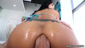Smiley asian Saya Song enjoys anal pounding