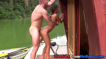 Dutch teen cummed on boat